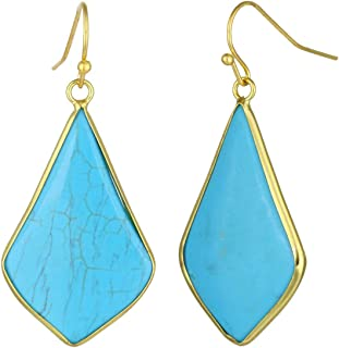 Crystal Quartz Stone Dangle Hook Earrings Rhombus Gold Plated