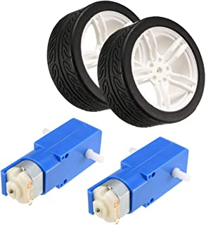 uxcell 2PCS DC Electric Motor 3-6V Dual Shaft Geared TT Magnetic Gearbox Engine with 2PCS Toy Car Tire Wheel, Mini Smart RC Car Robot Tyres