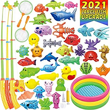 CozyBomB Magnetic Fishing Toys Game Set for Kids Water Table Bathtub Kiddie Pool Party with Pole Rod Net Plastic Floating Fish-Toddler Color Ocean Sea Animals Age 3 4 5 6 Year  XXX-Large