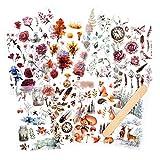 10 hojas Pegatina Frotar en transferencia Scrapbook Stickers Pegatinas de flores Etiqueta de la planta de decoración para Diary Album Bullet Journals Artes y manualidades de bricolaje (Bosque)
