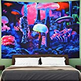 Amhokhui Trippy Mushroom Tapestry Psychedelic Astronaut Tapestry Misty Galaxy Space Tapestry Fantasy Spaceman Tapestry Wall Hanging for Bedroom Dorm H51×W59