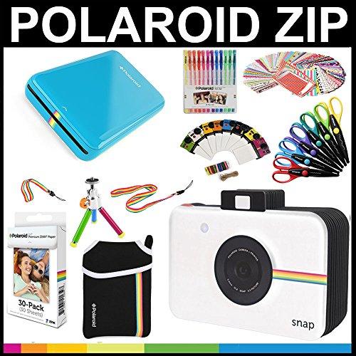 Polaroid-Zip-Mobil-Drucker Geschenk-Paket + Zink-Papier (30 Blätter) + Schnappschuss-Sammelalbum + Tasche + 6 Bastelscheren + 100 Rahmenaufkleber + farbige Gelschreiber + Rahmen + Zubehör.