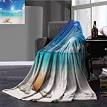 Flyerer Seashells Lightweight Blanket Seashells and Pearls on Sandy Beach Tropical Ocean Dreamiest Coastal Charm Digital Printing Blanket 90