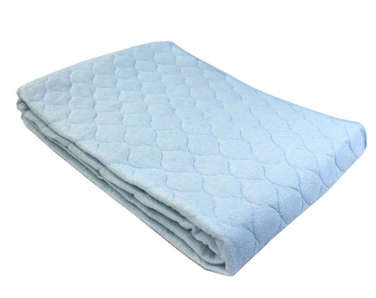 モバイル間違いなく定義綿素材やわらかパイルタオル地敷きパッドシーツ(セミダブルサイズ) ブルー