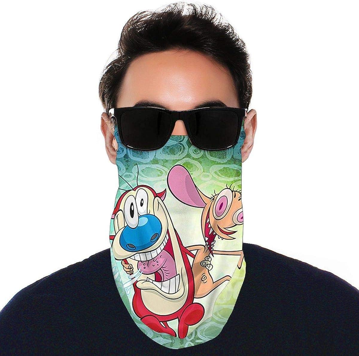 SIPONE Washable Men's & Women's The Ren & Stimpy Show Reusable Multiuse Bandanas Neck Gaiter Print Mask