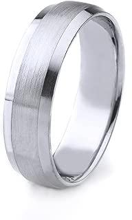 AFFINE Jewelry 14k Gold Men's Wedding Band with Satin Finish and Polished Beveled Edges Edges (8mm)