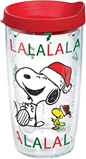 Tervis 1269599 Peanuts Christmas Santa Lid, A spirited Snoopy and Woodstock tumbler puts a song in your heart-and great beverages in your hand-this holiday season. , Red