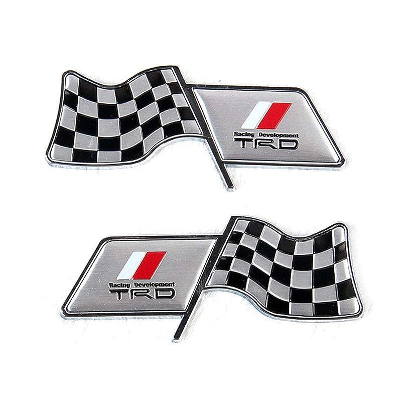 2Pcs Auto Aluminum Body Sticker Modified racing flag leaf board/fuel tank sticker/body sticker decoration For Toyota TRD Modified Emblem etc(Toyota TRD)