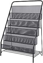 White Home Office Floor Shelves | Wrought Iron Bookshelf Display Stand | Black Magazine Rack Brochure File Storage Rack St...