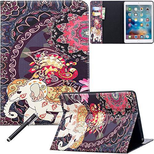 Neue iPad 9,72018/2017Fall, newshine Ultra Slim Trifold Smart Ständer Schutzhülle (Auto Sleep/Wake) mit Backcover Hartschale für Apple iPad 24,6cm (2018, 2017), 1 Elephant&Peacock