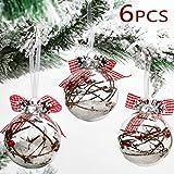 Valery Madelyn Weihnachtskugeln Set 6 Stücke 8CM aus transparentem Glas Rund gefüllt mit Schnee Wald Christbaumkugeln mit Aufhänger Weihnachtsbaumschmuck Weihnachten Dekoration