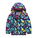 AIWUHE Veste de pluie pour enfant - Respirante - Coupe-vent - Imperméable - Avec capuche - Bleu - 7 ans