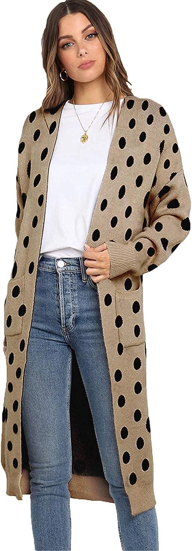 HAM Women's Leopard Print Lightweight Cardigan Sweaters with Pockets Long Sleeve Coat for Women