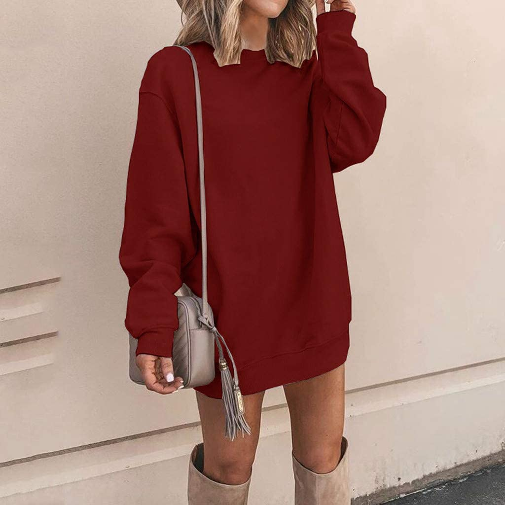 Pottseth Sweatshirts for Women,Fashion Womens Long Sleeve Casual Solid Crewneck Sweatshirt Pullover Top Hoodies Dress