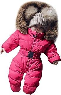 Kehen Newborn Baby Hooded Snowsuit Infant Boys Girls Winter Warm Fur Collar Jumpsuit Windproof Down Jacket Coat