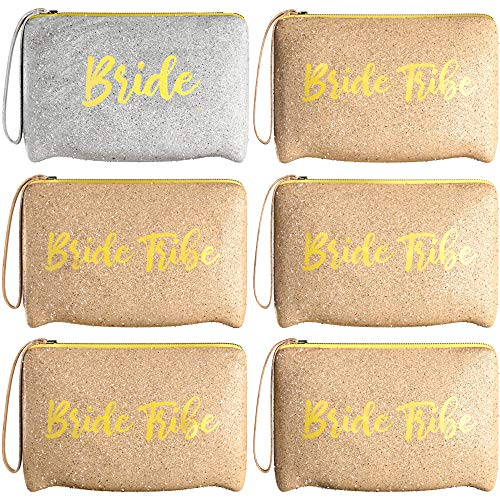 6 Piece Set   Rose Gold & Silver GLITTER Bride Tribe Bridesmaid Canvas Cosmetic Makeup Clutch   Purse Gifts Bag for Women   Wedding Supplies Bridesmaids Proposal Box & Bachelorette Party Favors
