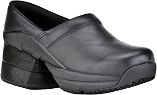 Z-CoiL Pain Relief Footwear Women's Toffler Slip Resistant Enclosed Coil Black Leather Clog Sandal