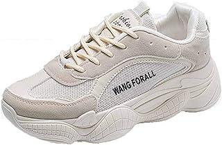 Dames Dikke schoenen Suède Casual Platform Sneakers Zomer Herfst Wandelen Wit Antislip Veterschoen Dagelijkse sportschoenen