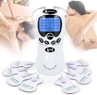 TENS Electroestimulador Digital Masajeador de Electrodos para TENS, EMS, Estimulador Muscular Masaje, Recargable con 8 Modos, 2 Canal 18 Almohadillas Reutilizables de Electrodos