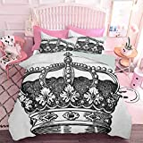 Hiiiman Home Decor Textile Antique Royal Crown Kingdom Emperor Ruler Simbolo Zar Monarchy Authority Icona (3 pezzi, California King Size) 1 copripiumino e 2 federe