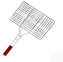 Livzing Portable Barbecue BBQ Grill Net Basket Roast Grilling Tray Chromium Plated with Wooden Handle