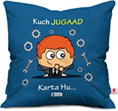 Indigifts Kuch Jugaad Karta Hu…. Quote Printed Blue Cushion Cover 12x12 with Filler - Birthday Gift for Friends, Friendship Day, Gifts for Brother, Friends Gift