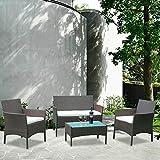 BMOT Gartenlounge Set, 7tlg Lounge Set in Rattanoptik mit Glastisch Sofa, Garnitur Sitzgruppe Gartenmöbel fur 4 Personen, Braun,Lounge Rattanoptik Gartenmöbel-Set für Balkon oder Terrasse