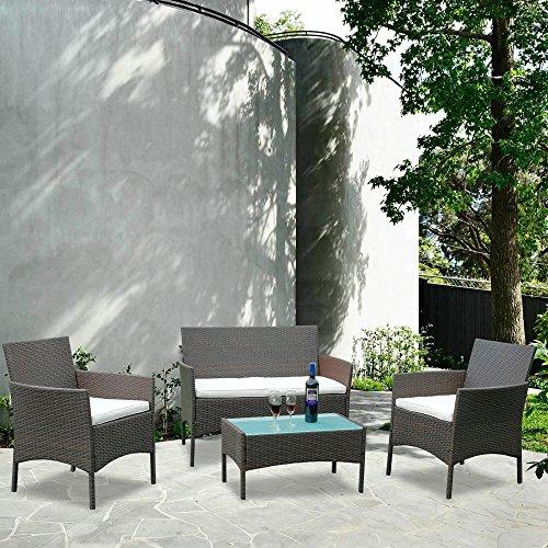 BMOT Conjunto de jardín de 4 plazas Muebles Ratán Juego con Mesa, Cojines incluidos, Muebles Ratán Juego para Terraza o Balcón, Color Marrón