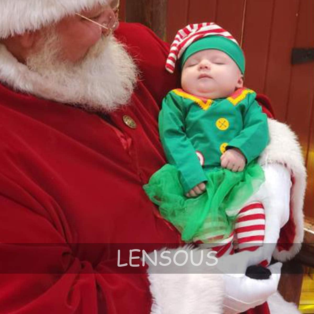 Baby Girls Newborn 1st Christmas Costume Tutu Dress Santa Claus Outfit Set