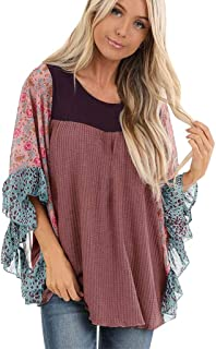 New 2019 Respctful✿ Women Shirts Ruffles Puff Sleeve Floral Patchwork Shirt Full Screen Blouse Sweet Casual Tops