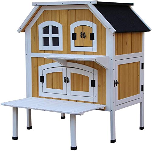 despacho de tienda XIAOCONG XIAOCONG XIAOCONG Jaula para Mascotacat Cottage Pet House Muebles De Perrera Al Aire Libre para Interiores amarillo Solo Enviar  buena calidad