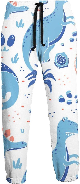 Ybrktl15- Mens Blue Cartoon Sweatpants Fashion Dinosaur Now Super intense SALE on sale Jogger