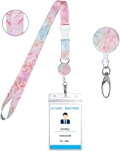 Name Retractable Badge Holder with Woven Lanyard Sets Marble Pattern Necklace Keychain Key Lanyard Nursing Badge Reel Waterproof Zip Sleeve Pouch for Men and Women(1 Set-Orange Pink Marble)