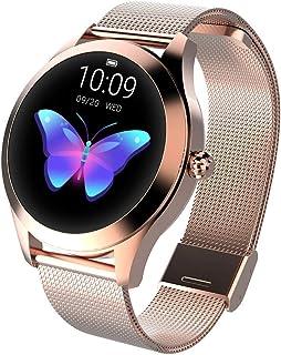 Zwbfu KW10 - Reloj Inteligente para Mujer (IP68, Resistente al Agua, monitoreo de frecuencia cardíaca, BT, rastreador de Actividad física para Android, iOS, Pulsera de Fitness)