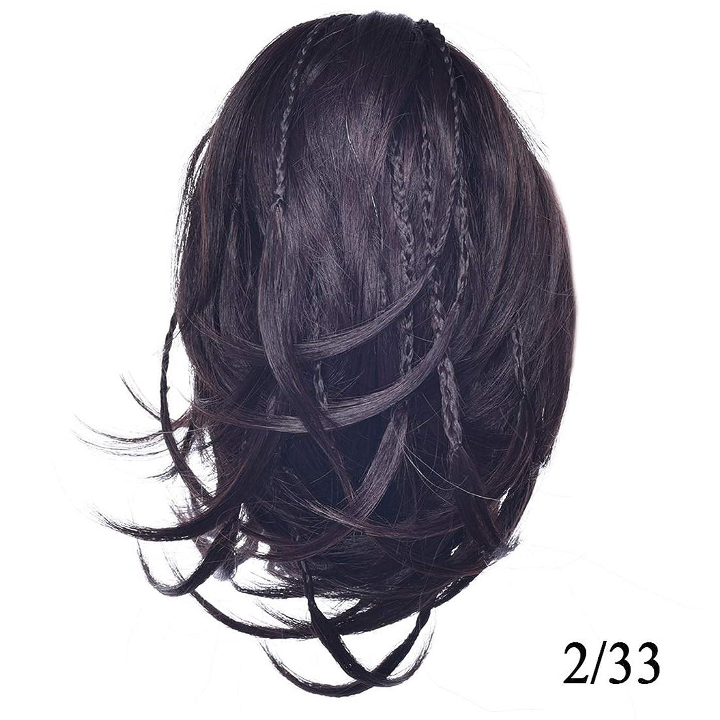 フィルタ顔料パトロンJIANFU レディースショートカーリーヘアウィッグフレキシブルヘアポニーテール不規則なポニーテールクリップ (Color : 2/33)