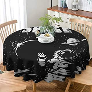 Glenn Longfellow Anti-Fading Tablecloths Astronaut,The Race to Space Retro Image with Space Crafts Planets Astronaut vs Cosmonauts, Black White ,Tablecovers for Rectangle Tables 50