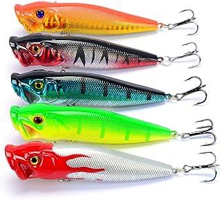 SunMine Fishing Lures 5pcs Fishing Bass Lures Popper Lure Shallow Swimbait Crankbait with Treble Hook 3D Fishing Eyes for ...