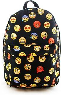 Mochila Viajes Mochilas de Lona de escuelas para Estudiantes a la Escuela Unisex emoticonos emotes Blanco Emoji 2.0 [005]