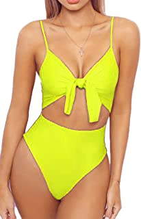 8960422f01a LEISUP Womens Spaghetti Strap Tie Knot Front Cutout High Cut One Piece  Swimsuit