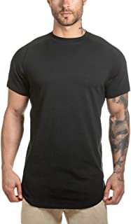 LETAOTAO Mens Hipster T Shirts Workout Longline T-Shirt Curved Hem Top Tees Shirt