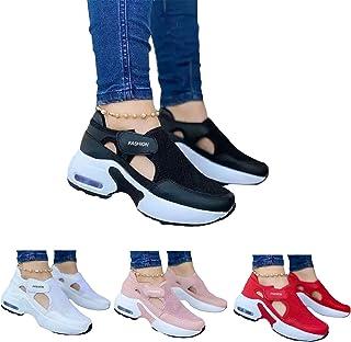 Women's Fashion Air Cushion Sole Flying Woven Velcro Sneakers, Running Anti-Slip Lightweight