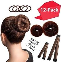 Hawwwy 12-piece Hair Bun Maker, Easy & Fast Bun Tool Best Sellers Kit Short Long Full Thin Hair Women Girls Kids Toddler Perfect Ballet Sock Accessory Brown (2 Donuts +2 Magic Snap & Roll +4 Spin Pin)