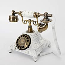 Vintage Rotary Phone,Resin Ring-Tones Old Fashioned Dial Telephone Resin White Vintage Landline Phone Classic Style Dial T... photo