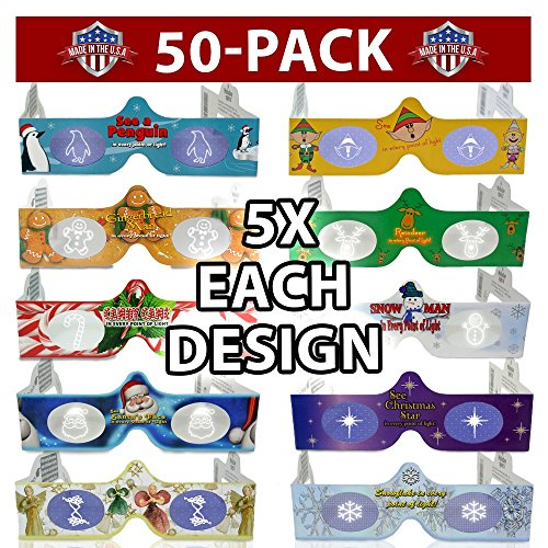 3D Christmas Glasses - 50 Pack - 5 Of Each! Turn Holiday Lights Into Magical Images For A Fun Christmas Experience. Our Holographic Glasses Are Perfect For Entertaining Family, Friends & Colleague