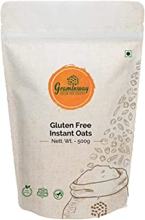 Graminway Gluten-Free Instant Whole Oats Fibre Rich Organic Healthy Natural Breakfast Cereal -Pack of 2, 500 g Each