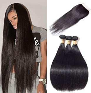 Malaysian Straight Hair with Closure 100% Unprocessed Virgin Human Hair 3 Bundles with 4x4 Lace Closure Free Part Natural Color 14 16 18 With 12inch