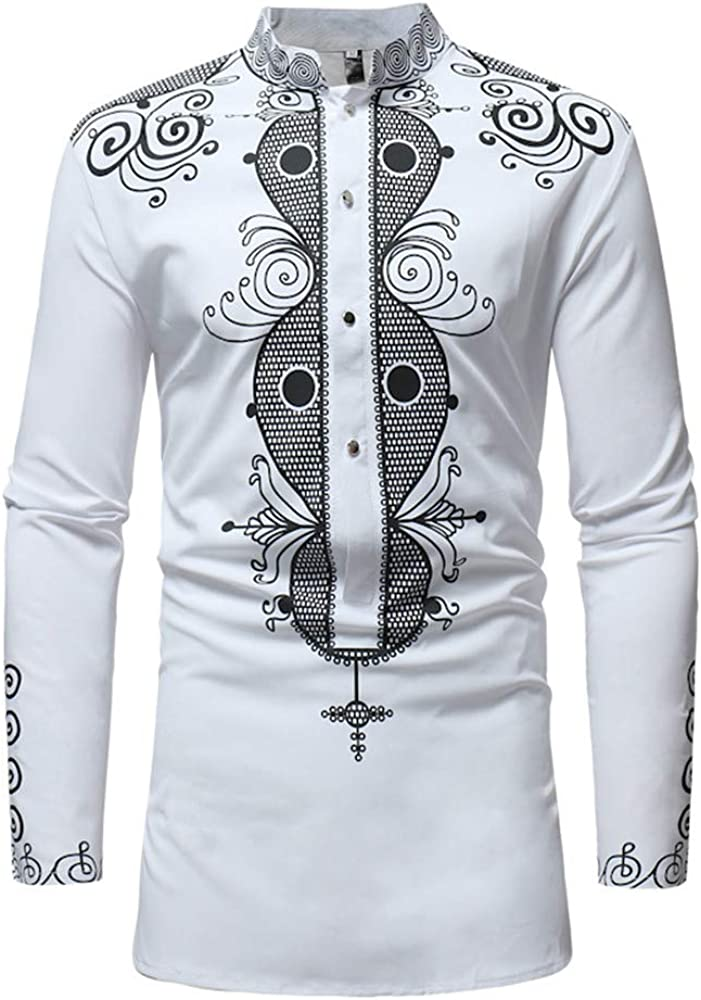 WUAI Clearance Luxury Shirts Casual African Print Slim Fit Long Sleeve Crewneck Personality Fashion Tee Shirt(White,US Size XL = Tag 2XL)