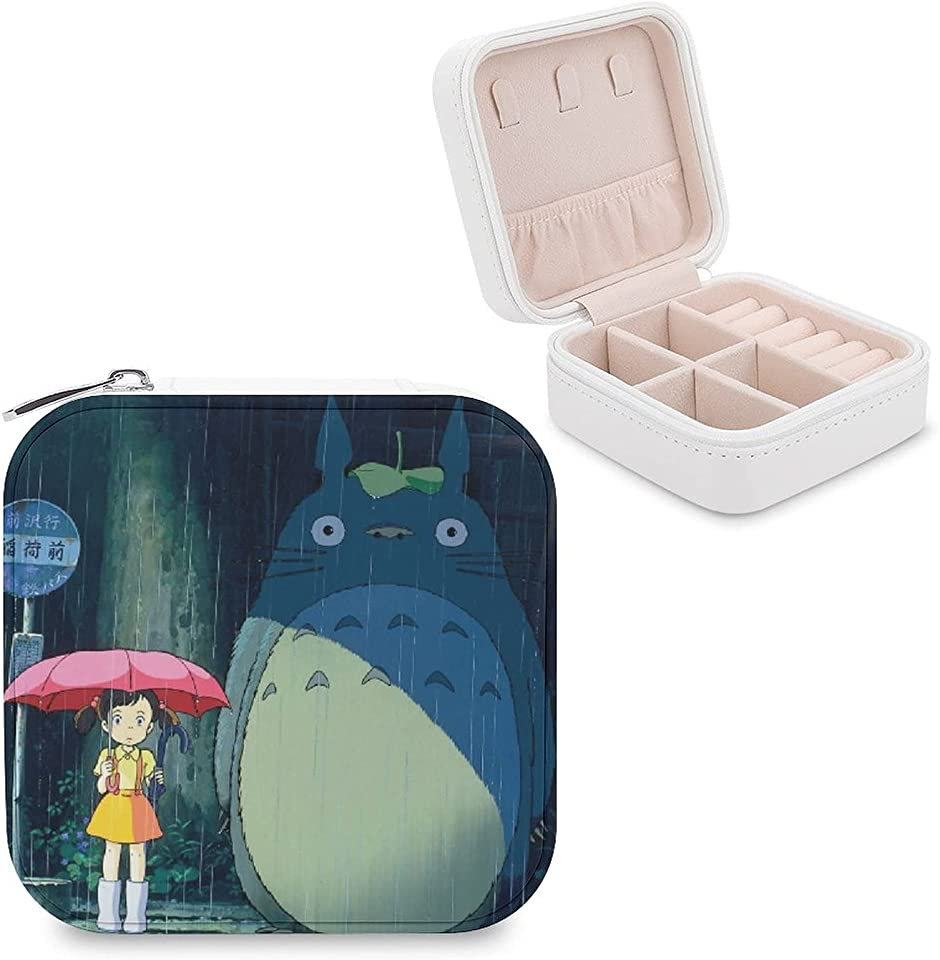 Totoro Anime Cartoon Jewelry Box | Portable PU Leather Jewelry Case | Travel Jewelry Case | Storage and Organizer Jewelry Display Box for Rings, Necklaces and Earrings Best