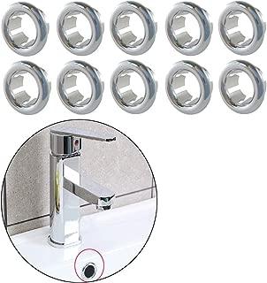 VintageBee 10PCS Overflow Covers,Round Bathroom Kitchen Sink Basin Trim Overflow Ring Hole Insert in Cap (Round Hole)