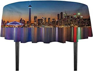 kangkaishi Landscape Washable Tablecloth Urban Theme A Cityscape View of Toronto and The Skyscrapers at Dusk Digital Print Desktop Protection pad D59.05 Inch Dark Blue